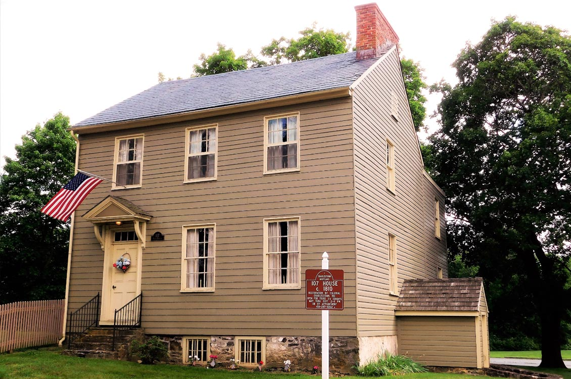 "The ""Tory House"" on Plat #107--National Register of Historic Places. Colonial times house museum owned by Colonial Charlestown, Inc.  c, 1810 on an older 1700's foundation.  A colonial kitchen fireplace is located in the restored tavern basement."